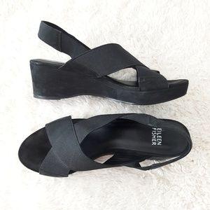 Eileen Fisher Criss Cross Platform Wedge Sandals